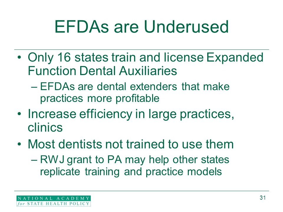 31 EFDAs are Underused Only 16 states train and license Expanded Function Dental Auxiliaries –EFDAs are dental extenders that make practices more profitable Increase efficiency in large practices, clinics Most dentists not trained to use them –RWJ grant to PA may help other states replicate training and practice models