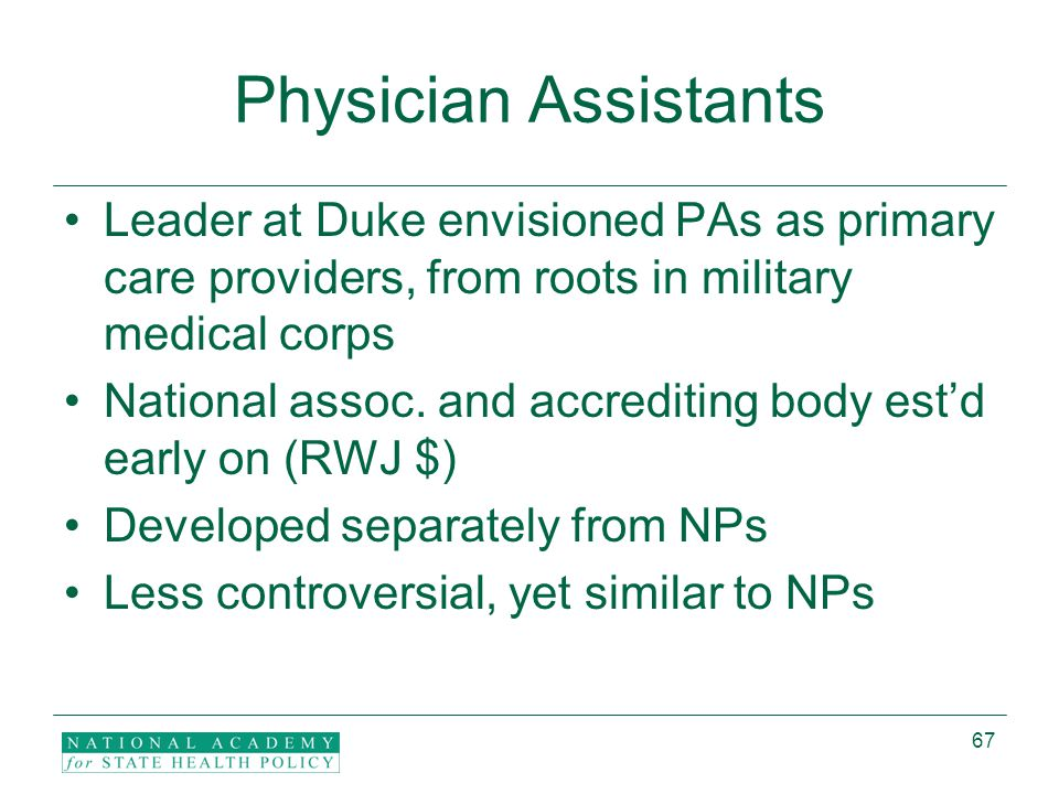 67 Physician Assistants Leader at Duke envisioned PAs as primary care providers, from roots in military medical corps National assoc.