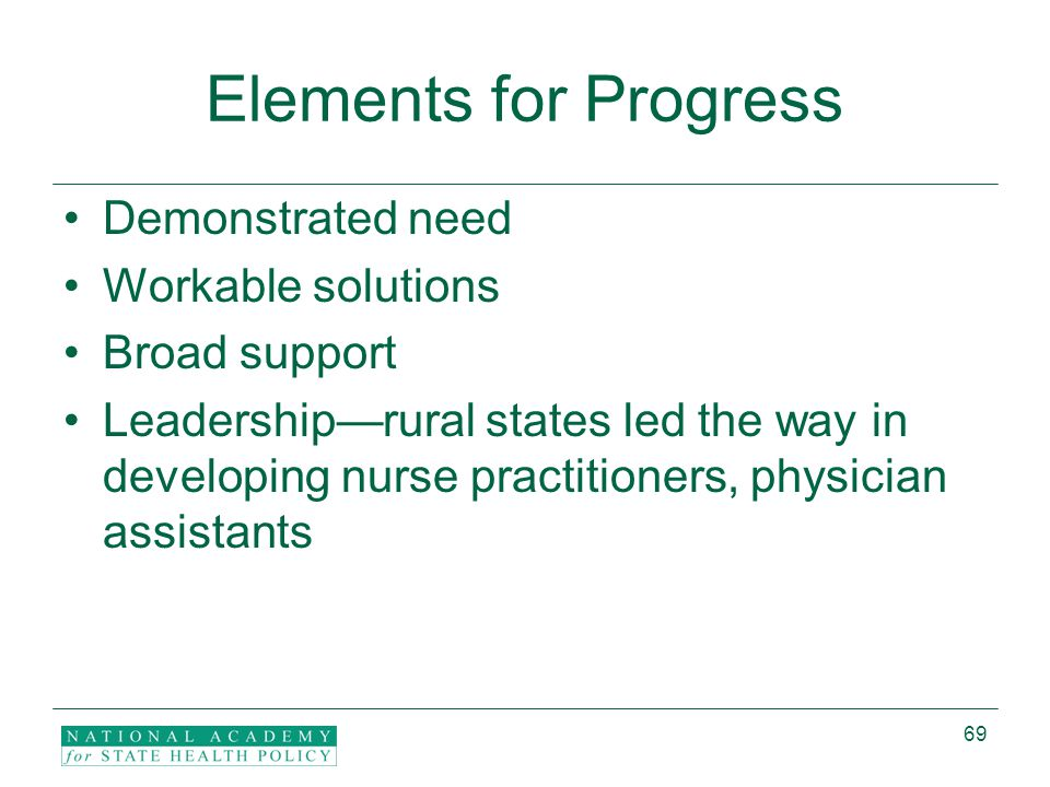 69 Elements for Progress Demonstrated need Workable solutions Broad support Leadership—rural states led the way in developing nurse practitioners, physician assistants