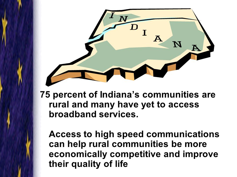 High Speed Communications Vision Indiana will be a leader in high speed communications by 2007 facilitating access to the global market for business and residential use in rural and underserved communities.