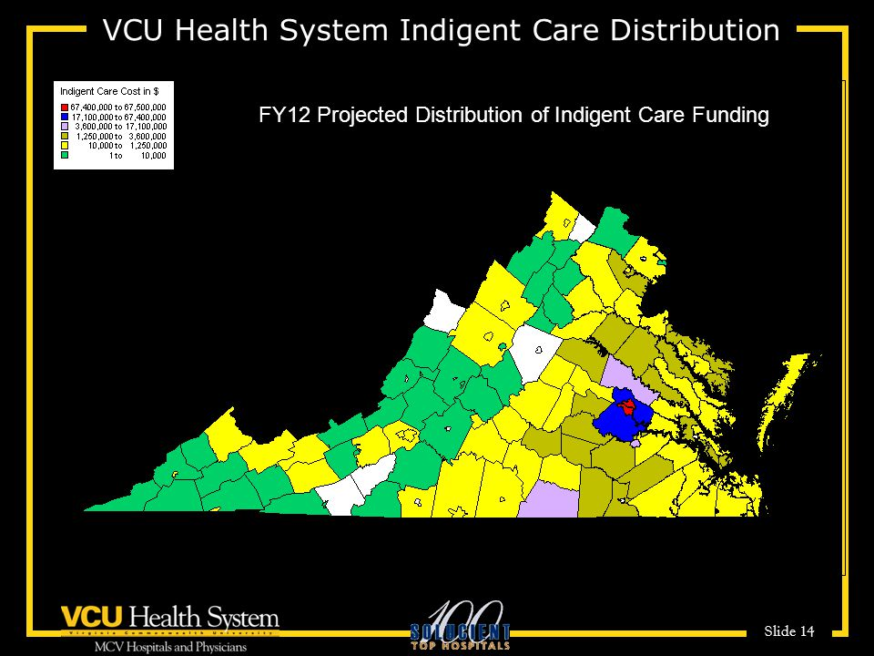 Slide 14 VCU Health System Indigent Care Distribution FY12 Projected Distribution of Indigent Care Funding