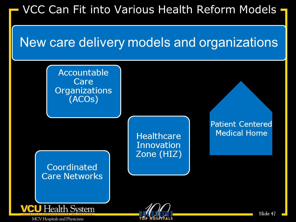 Slide 47 VCC Can Fit into Various Health Reform Models New care delivery models and organizations Accountable Care Organizations (ACOs) Healthcare Innovation Zone (HIZ) Patient Centered Medical Home Coordinated Care Networks