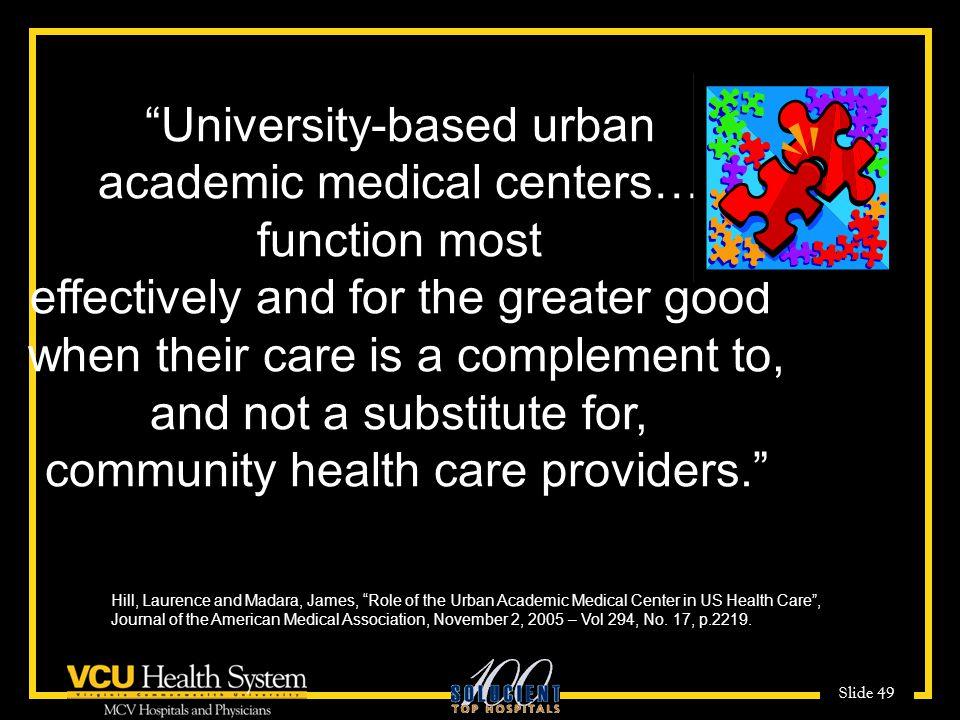 Slide 49 University-based urban academic medical centers….