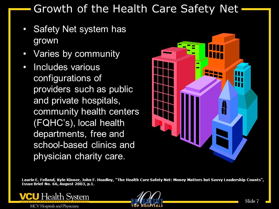 Slide 7 Growth of the Health Care Safety Net Safety Net system has grown Varies by community Includes various configurations of providers such as public and private hospitals, community health centers (FQHC's), local health departments, free and school-based clinics and physician charity care.