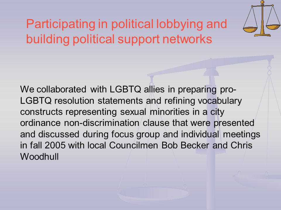We collaborated with LGBTQ allies in preparing pro- LGBTQ resolution statements and refining vocabulary constructs representing sexual minorities in a