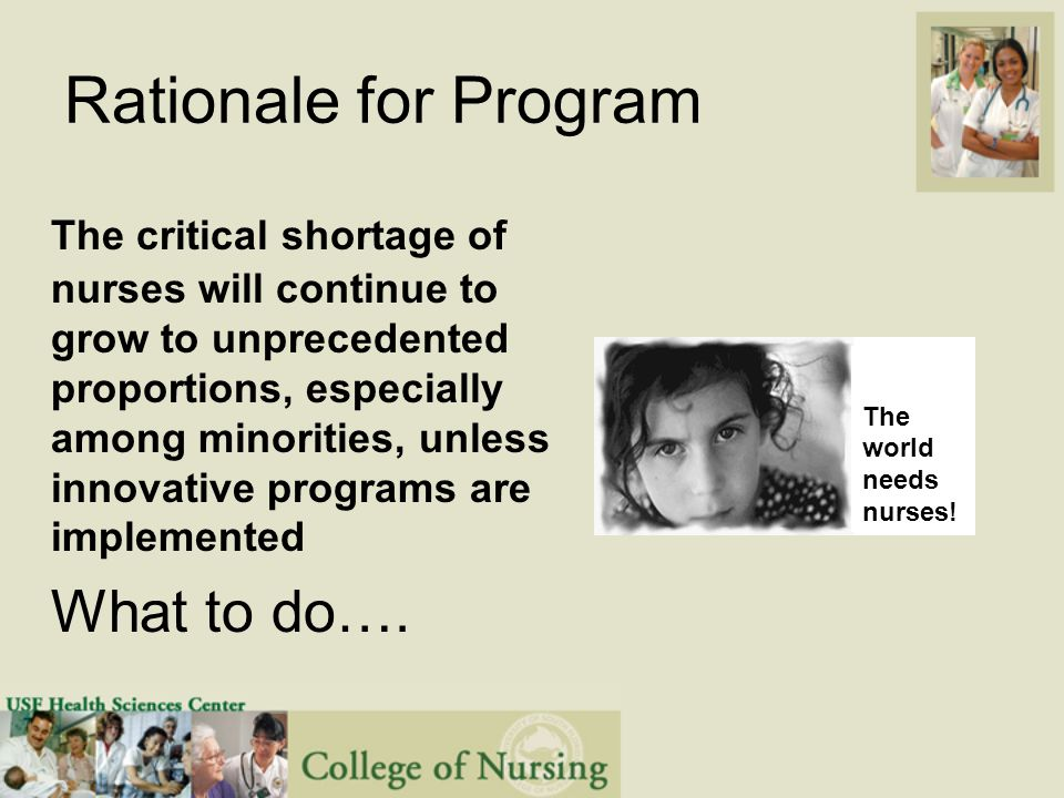 Rationale for Program The critical shortage of nurses will continue to grow to unprecedented proportions, especially among minorities, unless innovative programs are implemented What to do….