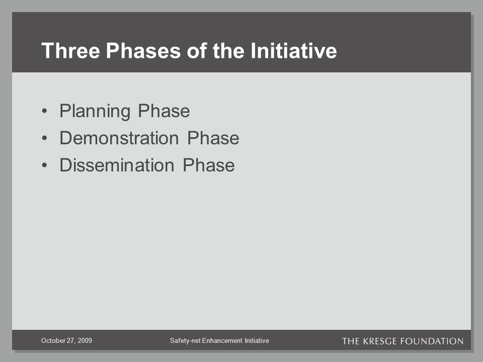 Safety-net Enhancement InitiativeOctober 27, 2009 Three Phases of the Initiative Planning Phase Demonstration Phase Dissemination Phase