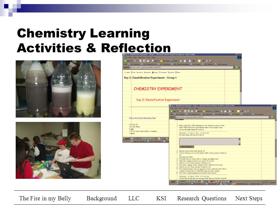 The Fire in my BellyBackgroundLLCKSIResearch QuestionsNext Steps Chemistry Learning Activities & Reflection