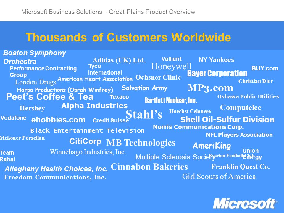 Microsoft Business Solutions – Great Plains Product Overview Return on Information: Huntingdon Life Sciences, Inc.