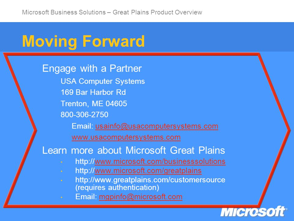 Microsoft Business Solutions – Great Plains Product Overview Thank You