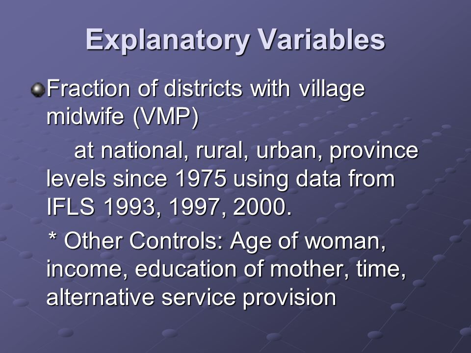 Explanatory Variables Fraction of districts with village midwife (VMP) at national, rural, urban, province levels since 1975 using data from IFLS 1993, 1997, 2000.