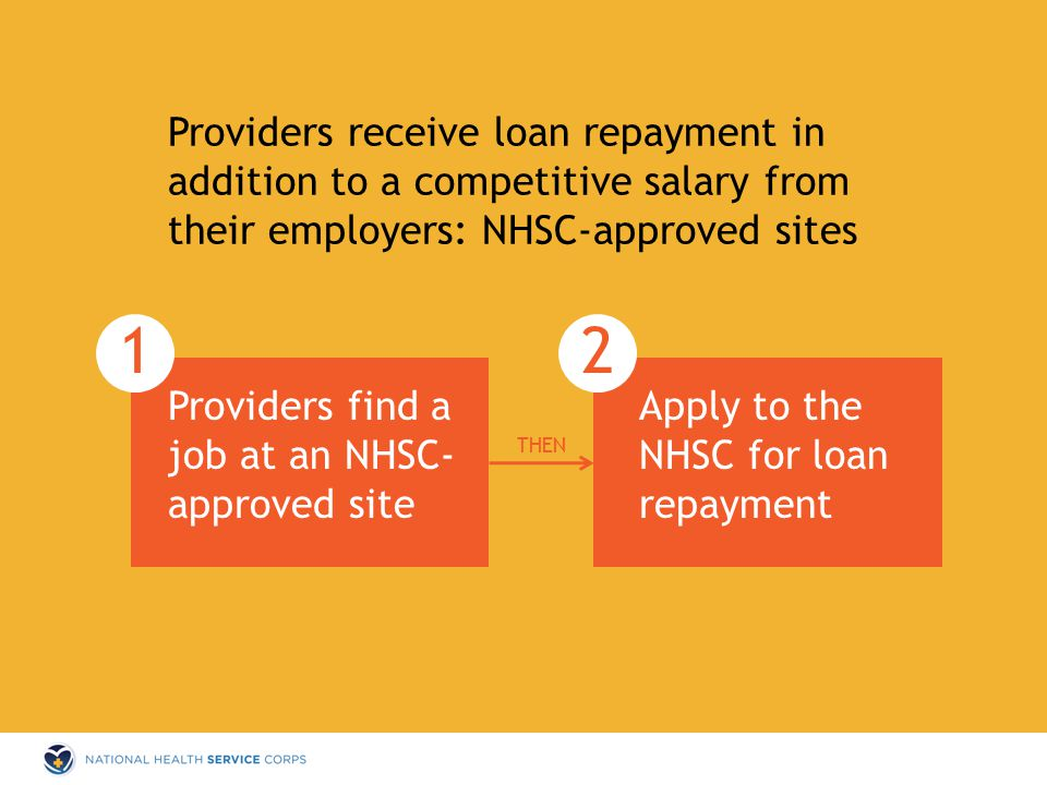 Providers receive loan repayment in addition to a competitive salary from their employers: NHSC-approved sites Apply to the NHSC for loan repayment Providers find a job at an NHSC- approved site THEN 12