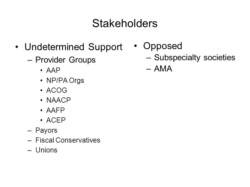 Stakeholders Undetermined Support –Provider Groups AAP NP/PA Orgs ACOG NAACP AAFP ACEP –Payors –Fiscal Conservatives –Unions Opposed –Subspecialty soc