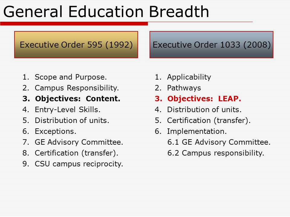 General Education Breadth Executive Order 595 (1992)Executive Order 1033 (2008) 1.