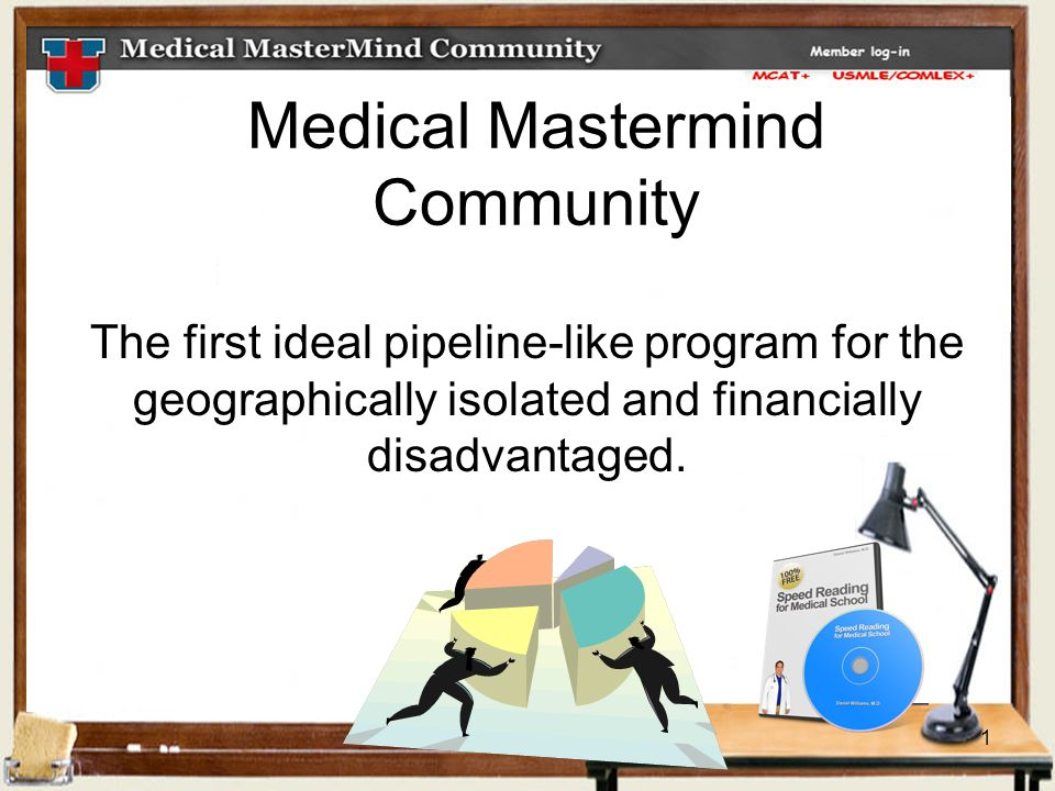 1 Medical Mastermind Community The first ideal pipeline-like program for the geographically isolated and financially disadvantaged.