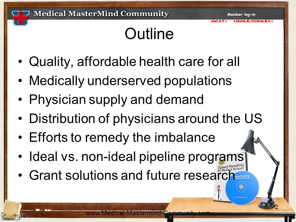 2 Outline Quality, affordable health care for all Medically underserved populations Physician supply and demand Distribution of physicians around the US Efforts to remedy the imbalance Ideal vs.