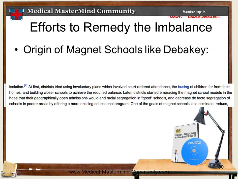 30 Efforts to Remedy the Imbalance Origin of Magnet Schools like Debakey: www.Medical-Mastermind-Community.com