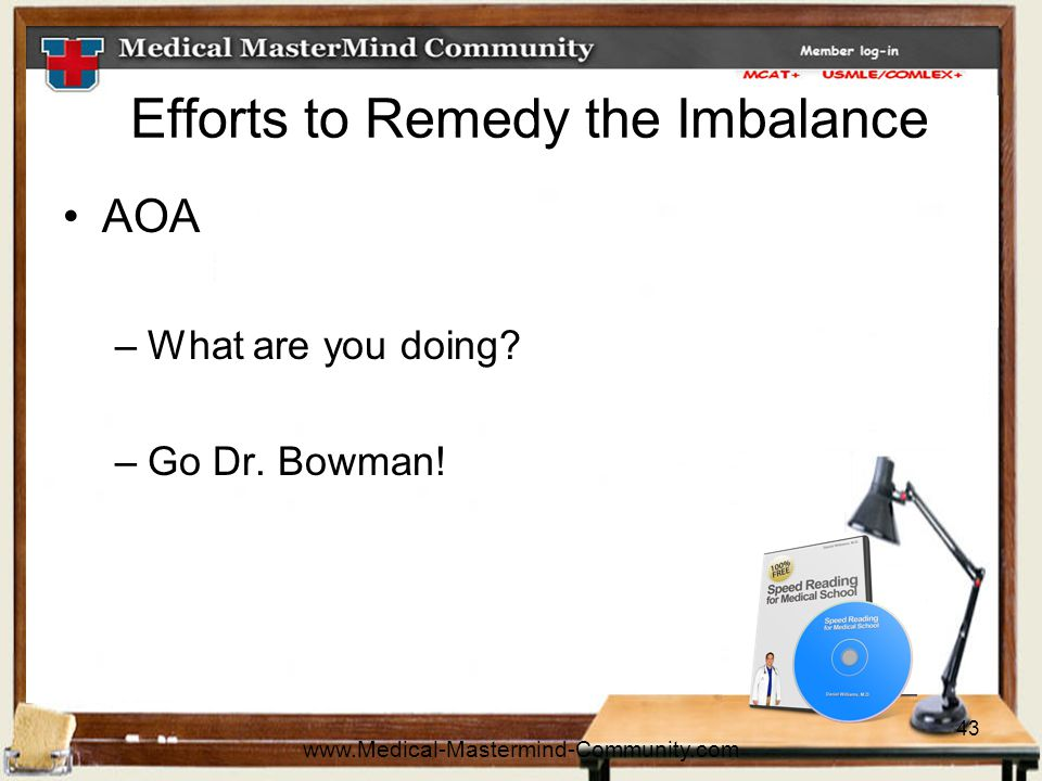 43 Efforts to Remedy the Imbalance AOA –What are you doing.