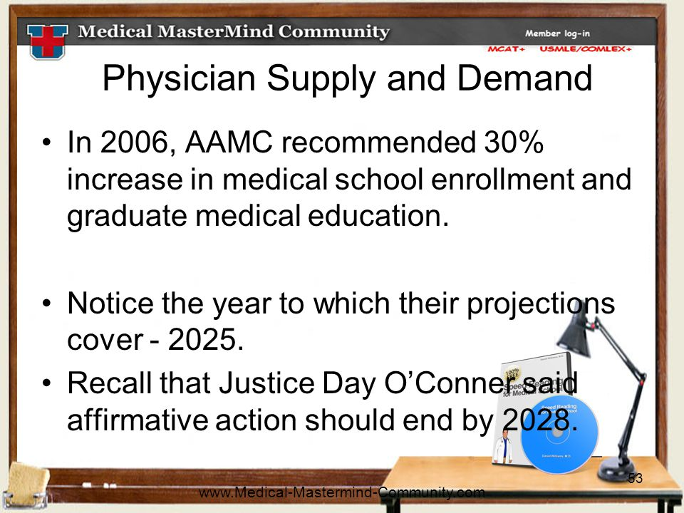 53 Physician Supply and Demand In 2006, AAMC recommended 30% increase in medical school enrollment and graduate medical education.