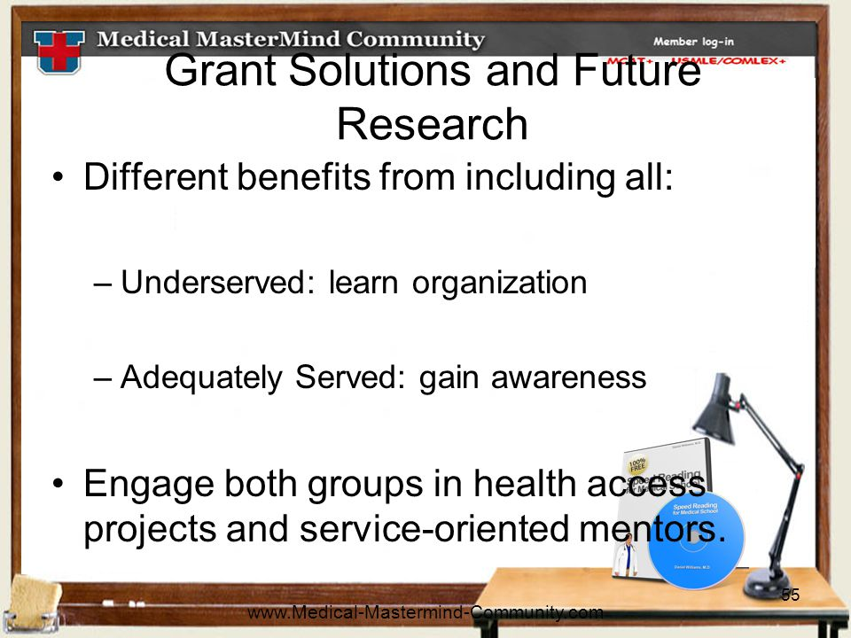 55 Grant Solutions and Future Research Different benefits from including all: –Underserved: learn organization –Adequately Served: gain awareness Engage both groups in health access projects and service-oriented mentors.