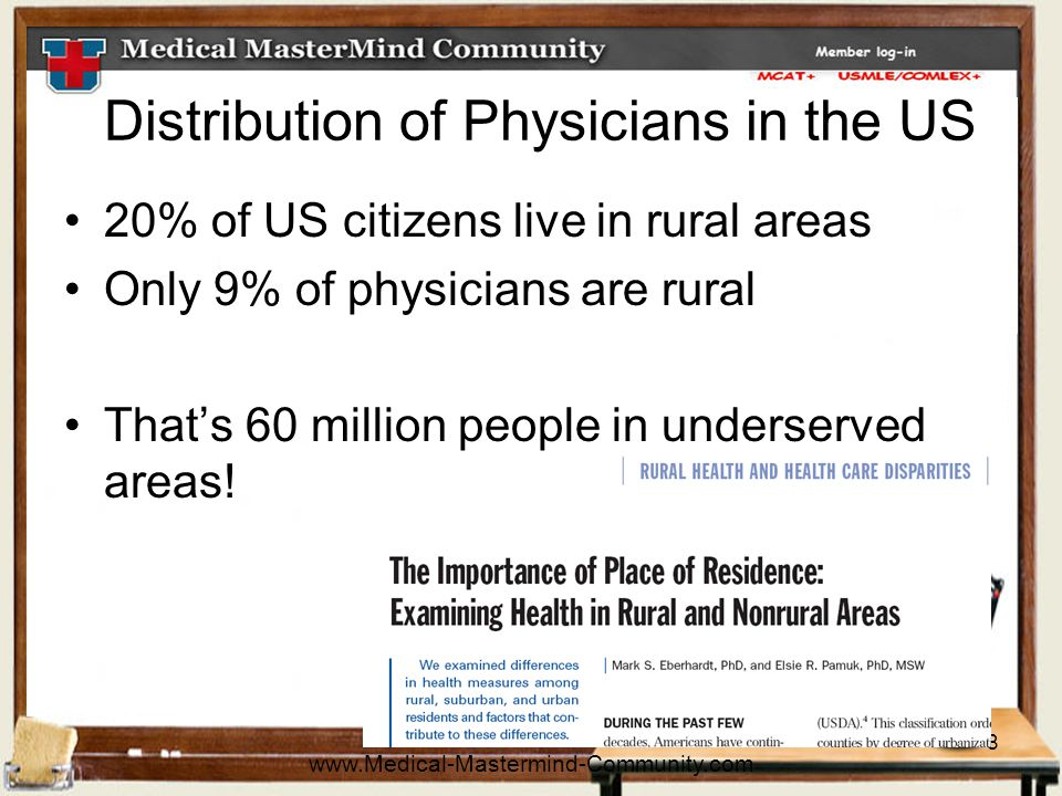 8 Distribution of Physicians in the US 20% of US citizens live in rural areas Only 9% of physicians are rural That's 60 million people in underserved areas.