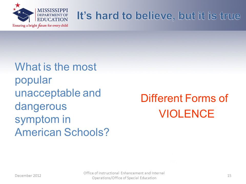 What is the most popular unacceptable and dangerous symptom in American Schools.