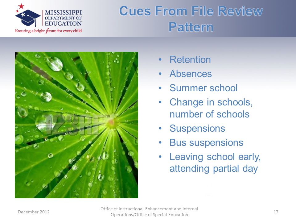 Retention Absences Summer school Change in schools, number of schools Suspensions Bus suspensions Leaving school early, attending partial day December 2012 Office of Instructional Enhancement and Internal Operations/Office of Special Education 17