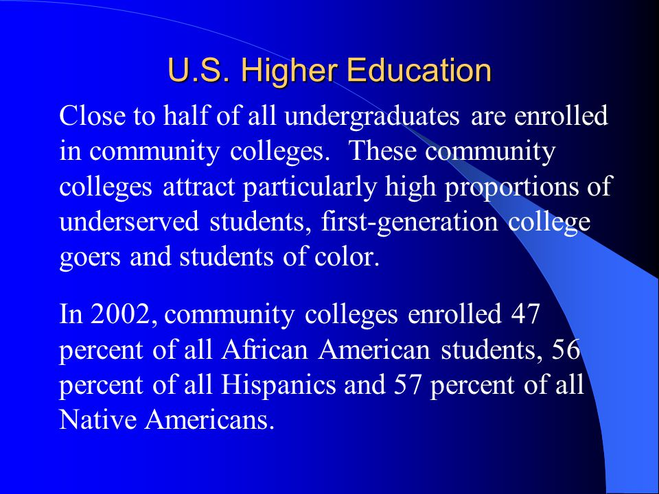 U.S. Higher Education  Close to half of all undergraduates are enrolled in community colleges. These community colleges attract particularly high pro