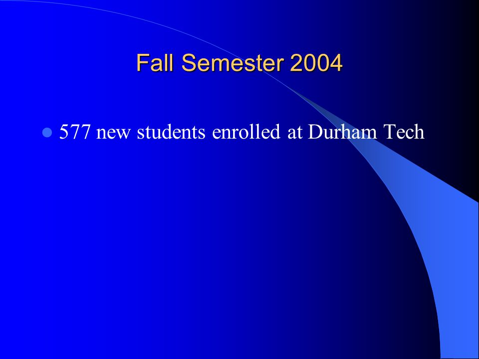 Fall Semester 2004 577 new students enrolled at Durham Tech