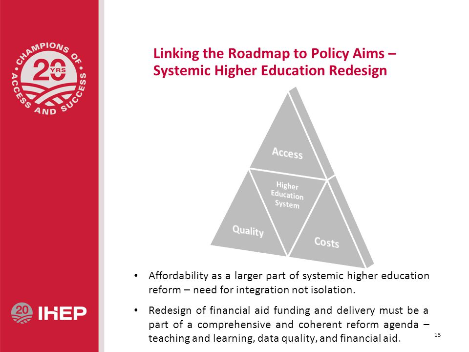 Linking the Roadmap to Policy Aims – Systemic Higher Education Redesign Affordability as a larger part of systemic higher education reform – need for integration not isolation.