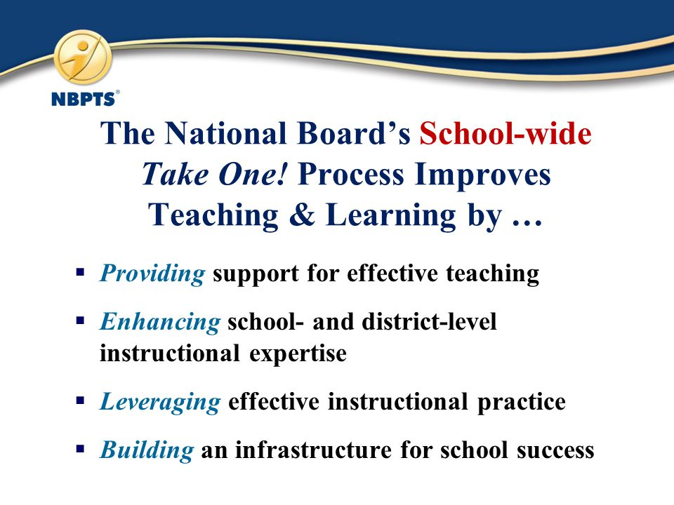The National Board's School-wide Take One.