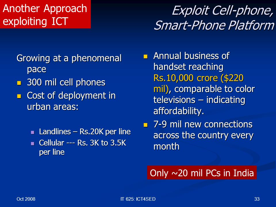 Oct 2008 33IT 625: ICT4SED Exploit Cell-phone, Smart-Phone Platform Growing at a phenomenal pace 300 mil cell phones 300 mil cell phones Cost of deplo