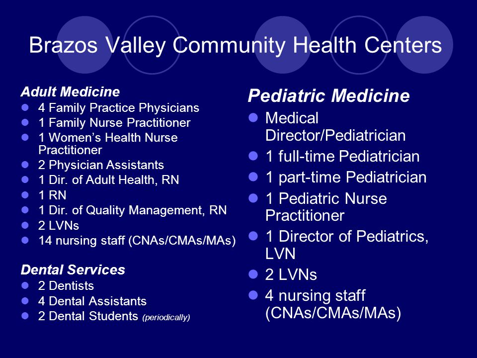 Brazos Valley Community Health Centers Adult Medicine 4 Family Practice Physicians 1 Family Nurse Practitioner 1 Women's Health Nurse Practitioner 2 Physician Assistants 1 Dir.