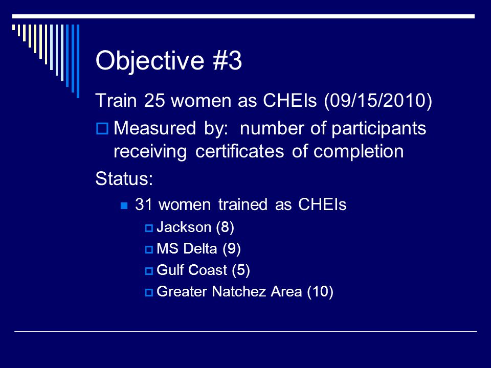 Objective #3 Train 25 women as CHEIs (09/15/2010)  Measured by: number of participants receiving certificates of completion Status: 31 women trained as CHEIs  Jackson (8)  MS Delta (9)  Gulf Coast (5)  Greater Natchez Area (10)