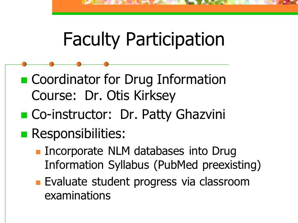 Faculty Participation Coordinator for Drug Information Course: Dr. Otis Kirksey Co-instructor: Dr. Patty Ghazvini Responsibilities: Incorporate NLM da