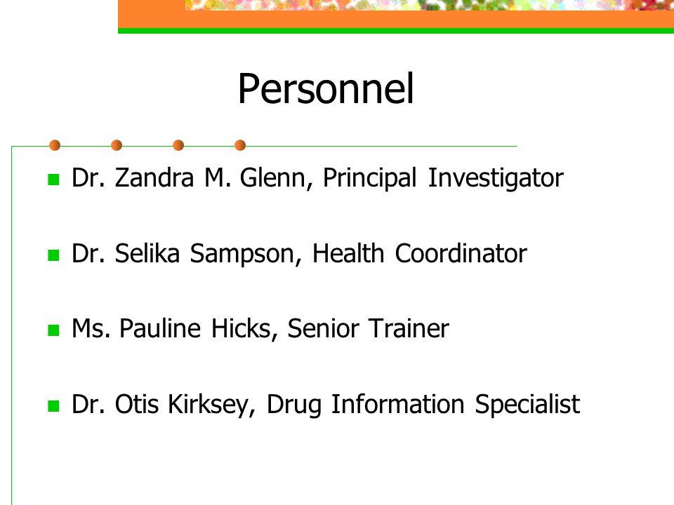Personnel Dr. Zandra M. Glenn, Principal Investigator Dr.