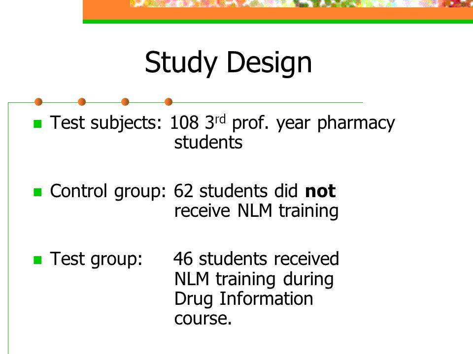 Study Design Test subjects: 108 3 rd prof.