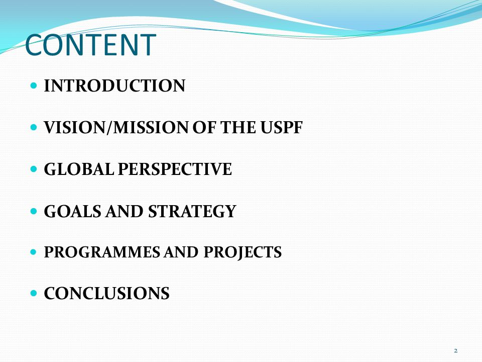 CONTENT INTRODUCTION VISION/MISSION OF THE USPF GLOBAL PERSPECTIVE GOALS AND STRATEGY PROGRAMMES AND PROJECTS CONCLUSIONS 2