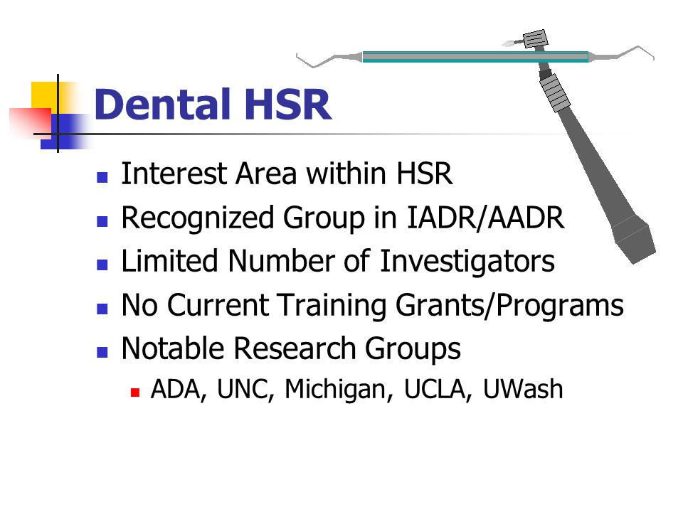 Dental HSR Interest Area within HSR Recognized Group in IADR/AADR Limited Number of Investigators No Current Training Grants/Programs Notable Research