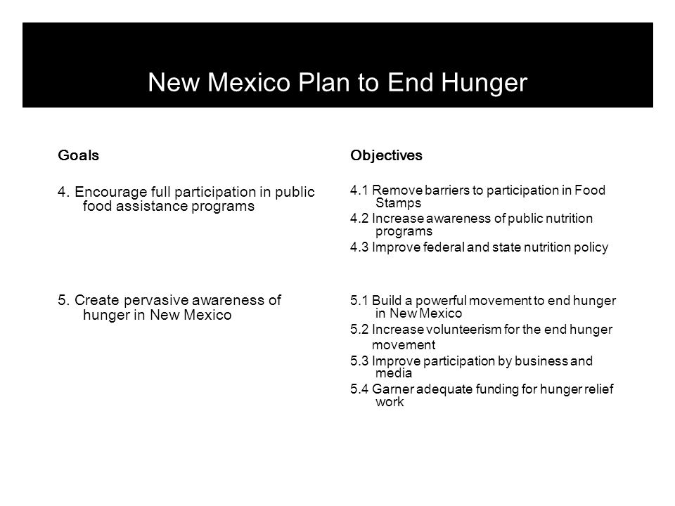 Objectives 3.3 Improve transportation to food sources Outcomes + Rural residents have greater access to healthy food sources + Seniors have more transportation options Tactics 3.31 Fill gaps in service to food stores 3.32 Leverage federal transportation funds for rural areas 3.33 Encourage new car-service businesses Responsible NMDOT/Local govt's/Nonprofits NMDOT/Council of Govt's Local govt's Cost per year Existing budgets $0 Existing budgets New Mexico Plan to End Hunger Goal 3: Improve access to food in rural and underserved communities