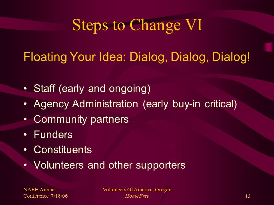 NAEH Annual Conference 7/18/06 Volunteers Of America, Oregon Home Free13 Steps to Change VI Floating Your Idea: Dialog, Dialog, Dialog.