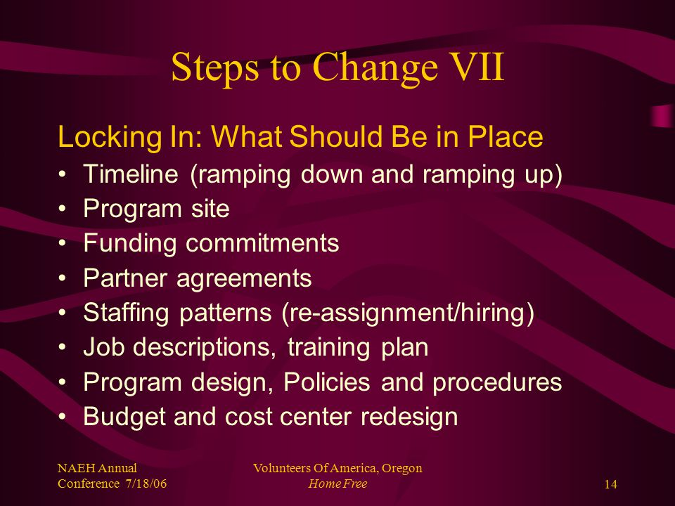 NAEH Annual Conference 7/18/06 Volunteers Of America, Oregon Home Free14 Steps to Change VII Locking In: What Should Be in Place Timeline (ramping down and ramping up) Program site Funding commitments Partner agreements Staffing patterns (re-assignment/hiring) Job descriptions, training plan Program design, Policies and procedures Budget and cost center redesign