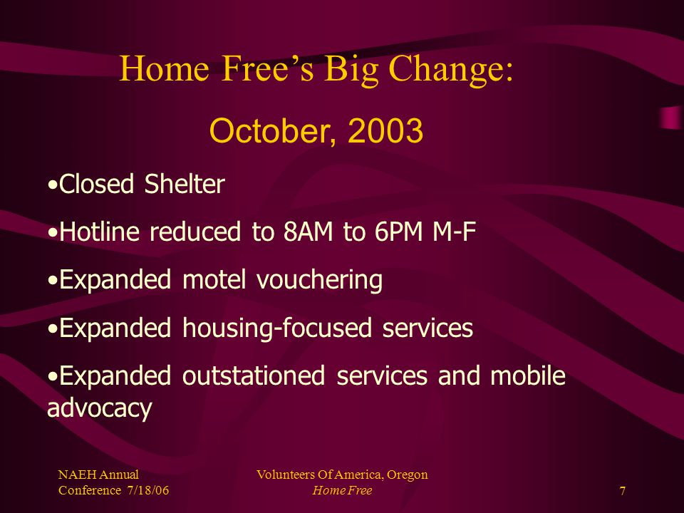 NAEH Annual Conference 7/18/06 Volunteers Of America, Oregon Home Free7 Home Free's Big Change: October, 2003 Closed Shelter Hotline reduced to 8AM to 6PM M-F Expanded motel vouchering Expanded housing-focused services Expanded outstationed services and mobile advocacy
