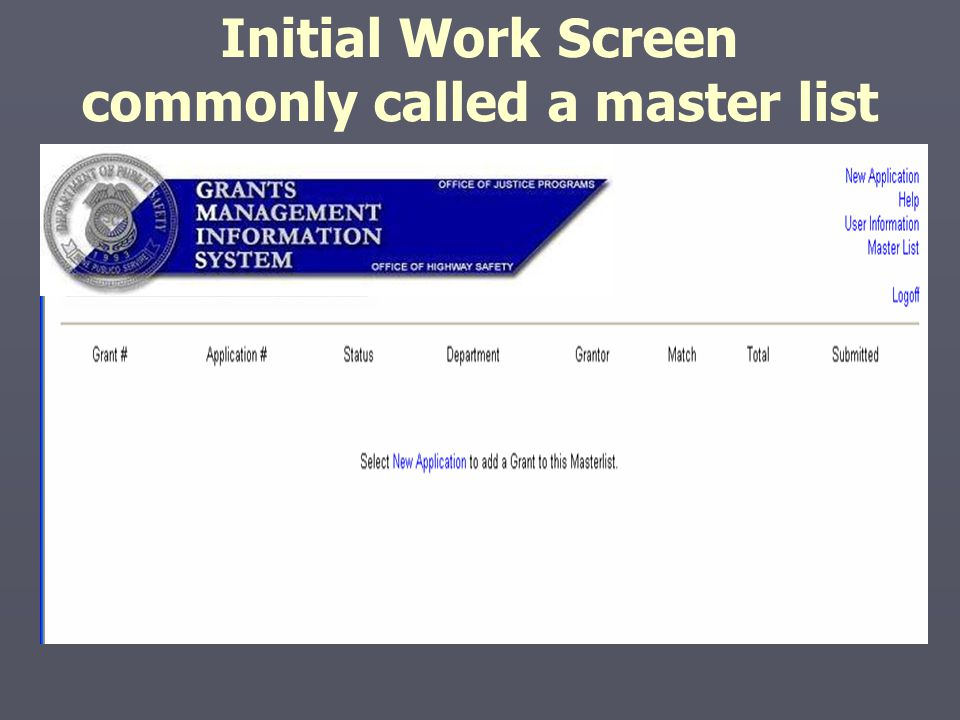 Initial Work Screen commonly called a master list