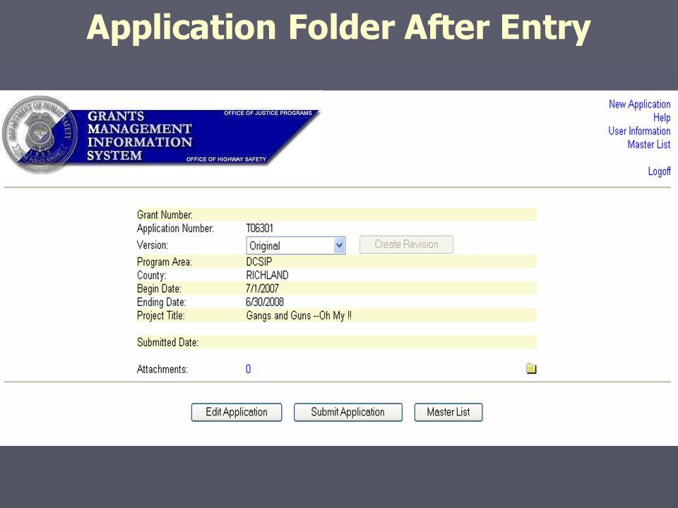 Application Folder After Entry