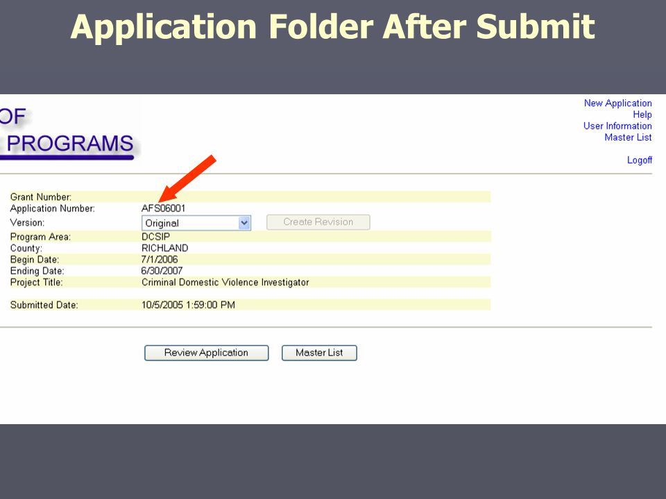 Application Folder After Submit