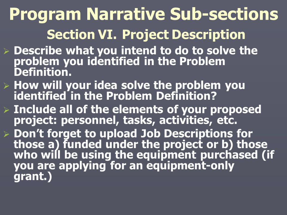 Program Narrative Sub-sections Section VI. Project Description   Describe what you intend to do to solve the problem you identified in the Problem D