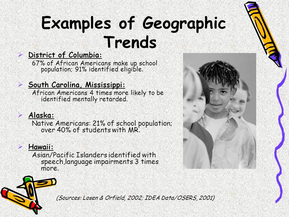Examples of Geographic Trends  District of Columbia: 67% of African Americans make up school population; 91% identified eligible.