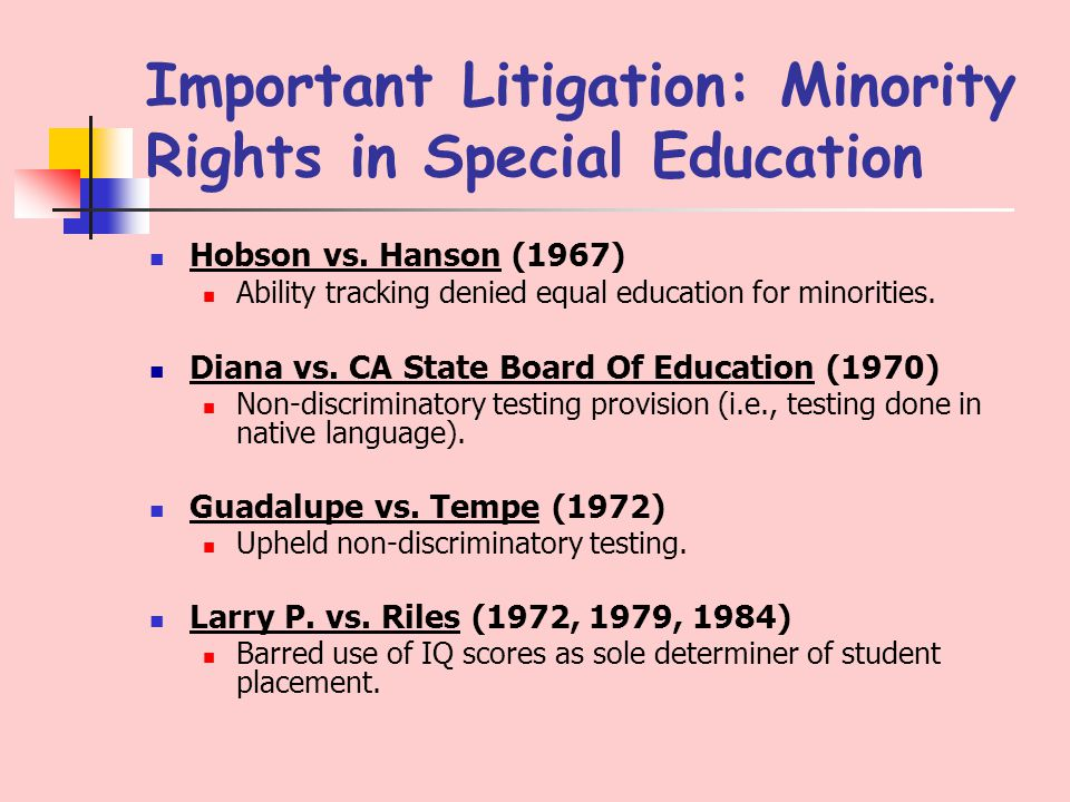 Important Litigation: Minority Rights in Special Education Hobson vs.