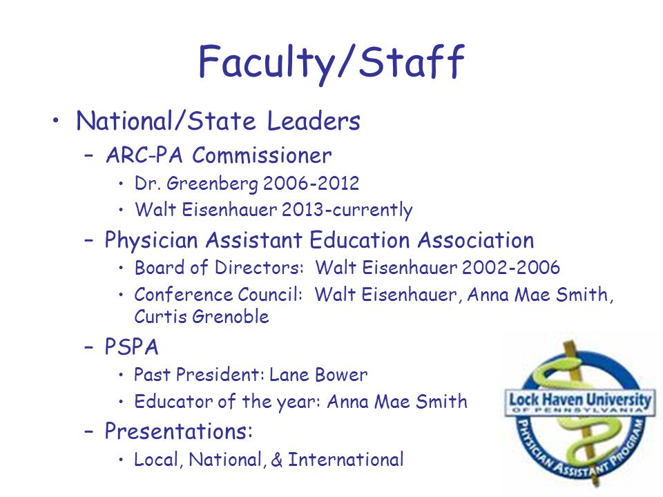 Faculty/Staff National/State Leaders –ARC-PA Commissioner Dr. Greenberg 2006-2012 Walt Eisenhauer 2013-currently –Physician Assistant Education Associ